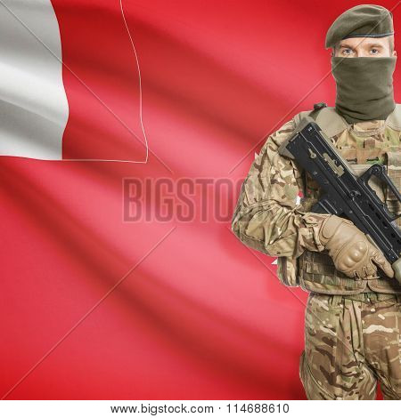 Soldier Holding Machine Gun With Flag On Background Series - Wallis And Futuna