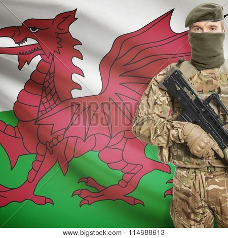 Soldier Holding Machine Gun With Flag On Background Series - Wales