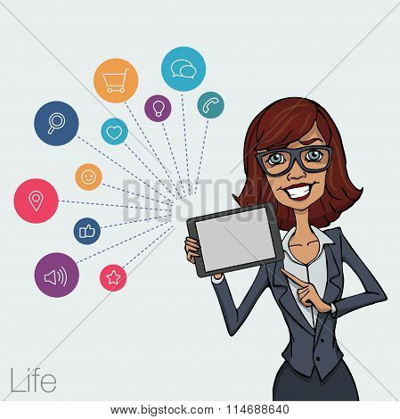 Illustration Of An Office  Employee Showing Tablet Screen For Presentation Applications.