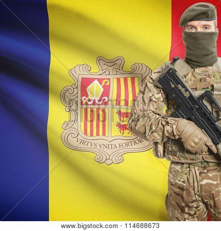 Soldier Holding Machine Gun With Flag On Background Series - Andorra