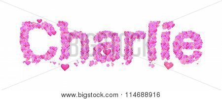 Charlie Female Name Set With Hearts Type Design