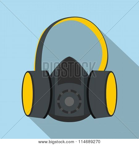 Protective ear muffs and respirator flat icon