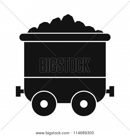 Coal trolley black simple icon