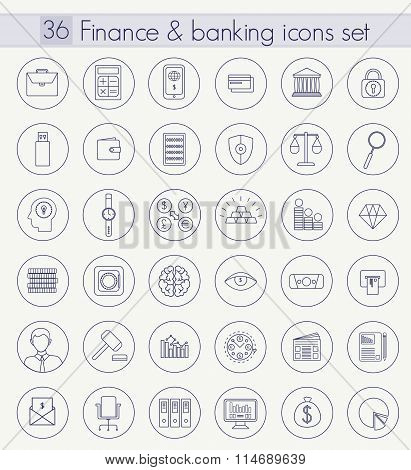 Vector Finance and Banking Outline icon set. Thin line style design.