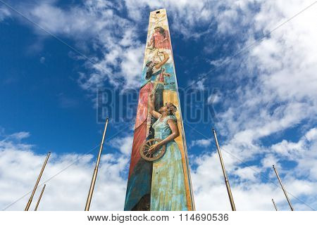 SANTO DOMINGO, DOMINICAN REPUBLIC - CIRCA JAN 2016: The obelisk at Malecon in Santo Domingo, Dominican Republic.