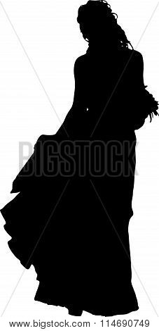 Detailed black silhouette of a young girl with beautiful hairstyle, wedding dress and with a bouquet