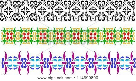 Three different types of ornament, black and white, green yellow and violet blue. Flowery patterns i