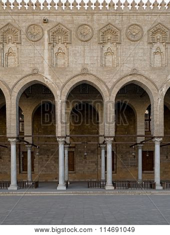 Arched Surrounding The Courtyard Of A Historic Mosque, Cairo, Egypt