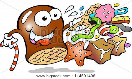 Vector Cartoon Illustration Of A Cream Puff Holding A Cone With A Choice Of Delicious Candies