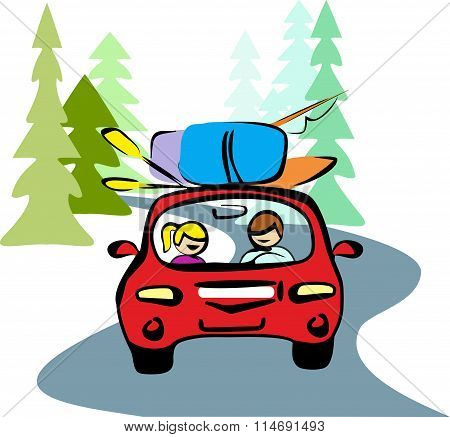 A man and a woman in red car driving on a forest road to rest. Taking your backpacks, boat, oars