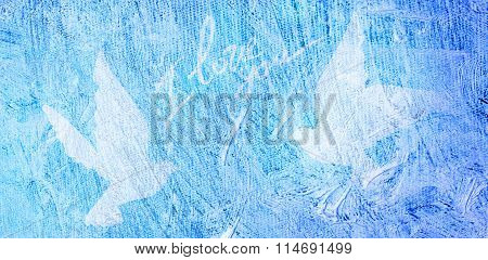 White doves flying towards each other on the texture of blue oil on white canvas