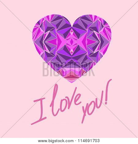 Stylized purple rosove heart closeup with the inscription I love you on a gentle beige background