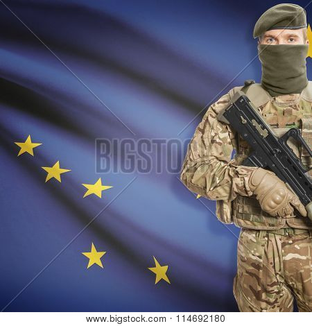 Soldier Holding Machine Gun With Usa State Flag On Background Series - Alaska