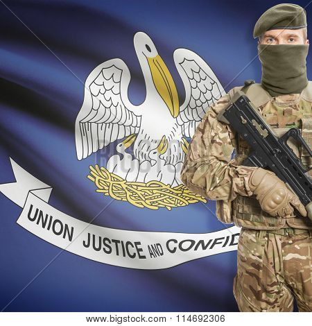 Soldier Holding Machine Gun With Usa State Flag On Background Series - Louisiana
