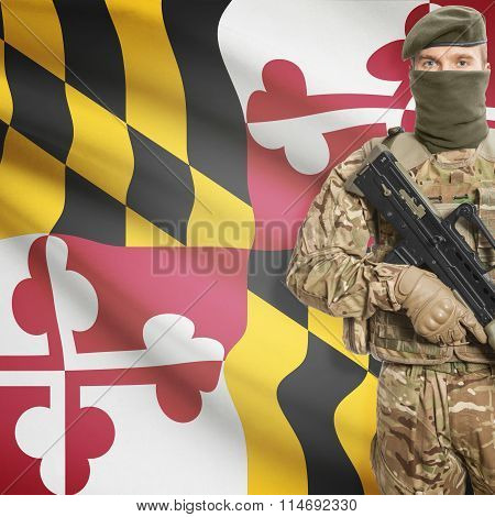 Soldier Holding Machine Gun With Usa State Flag On Background Series - Maryland