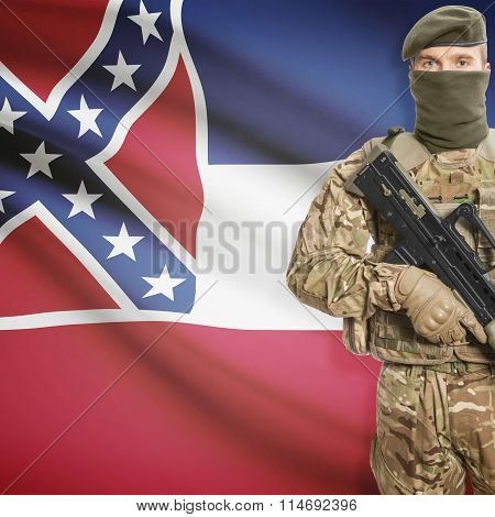 Soldier Holding Machine Gun With Usa State Flag On Background Series - Mississippi