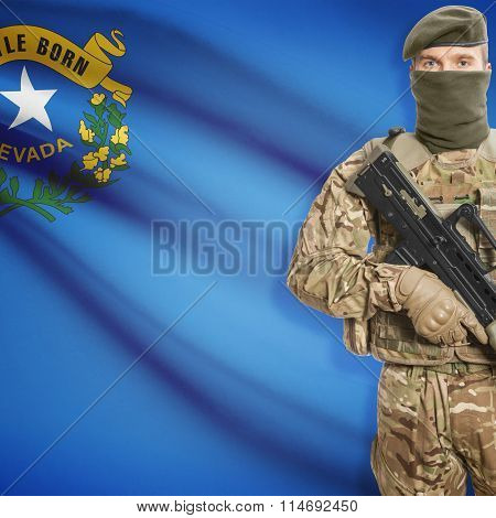 Soldier Holding Machine Gun With Usa State Flag On Background Series - Nevada