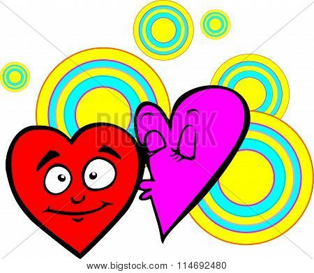 Valentine, heart, purple modestly shy kisses heart red, on a background of colored circles