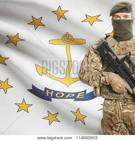 Soldier Holding Machine Gun With Usa State Flag On Background Series - Rhode Island