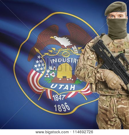 Soldier Holding Machine Gun With Usa State Flag On Background Series - Utah