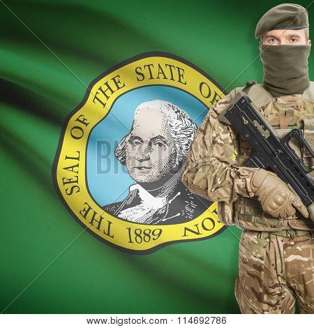 Soldier Holding Machine Gun With Usa State Flag On Background Series - Washington