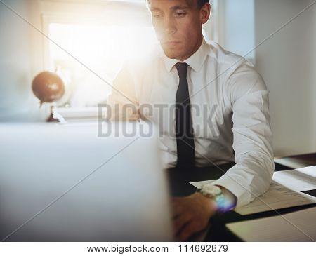 Close Up Of Executive Business Man With Laptop