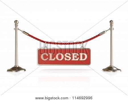 Velvet rope barrier with CLOSED sign. 3D