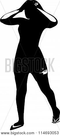 Black silhouette of a young girl in full growth, which keeps your hands behind the head
