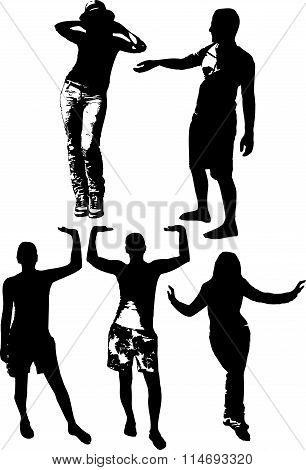 Vector set of black silhouettes of girls and mans in various poses, standing at full height