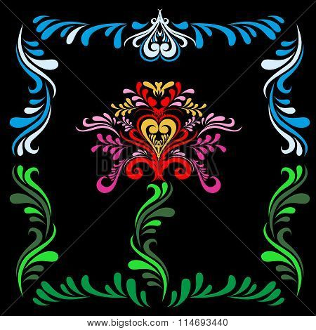 Stylized Slavic painting Red flower on a black background. Slavic ornament. Pattern for textures