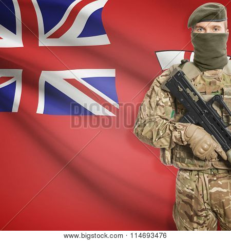 Soldier Holding Machine Gun With Canadian Province Flag On Background Series - Ontario