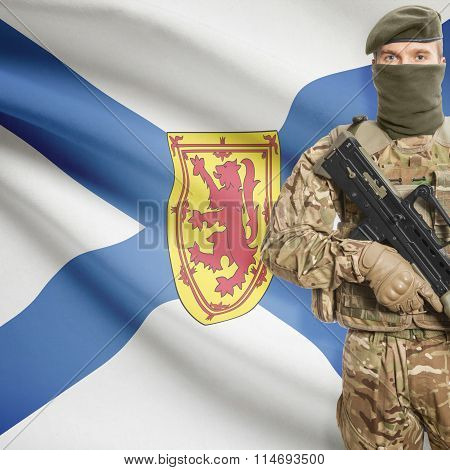 Soldier Holding Machine Gun With Canadian Province Flag On Background Series - Nova Scotia