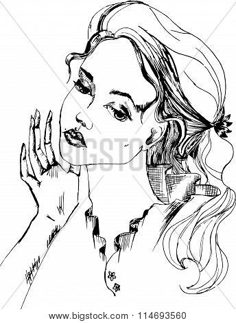 Black white portrait of a woman closeup with the hand of a person. Languishing in the vector
