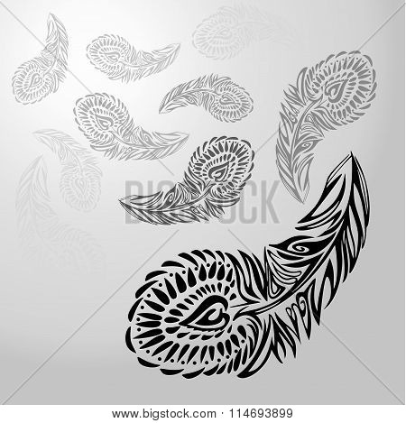 Stylized ornament texture black feathers on white-gray background, receding into distance
