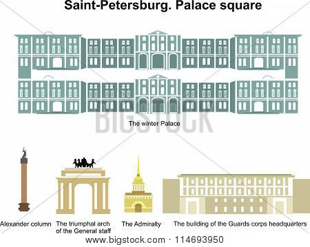 Palace square. Saint-Petersburg. Russia. Vector monument and museum