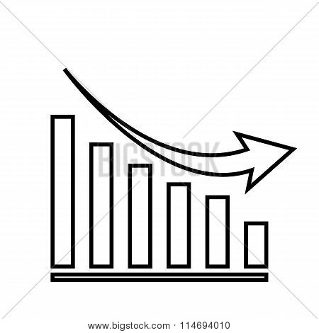 Declining graph line icon