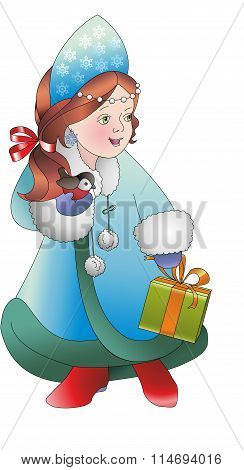 he snow maiden. With gift and bird. Young Santa Claus's helper. New year