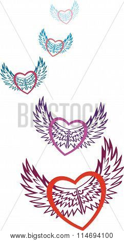 Valentine. Multicolored hearts symbolizing love, fly on the patterned wings of love