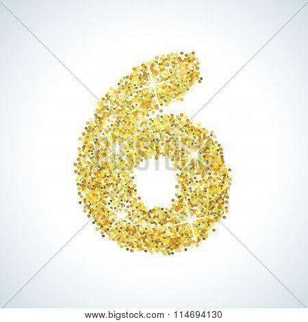 Six number in golden style. Vector illustration gold design