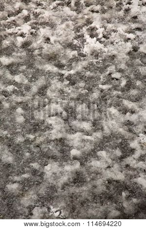 Texture Of The Snow-covered Ice On River