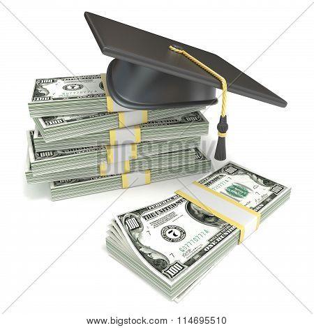 Education concept. Graduation cap on stack of dollar bills. 3D