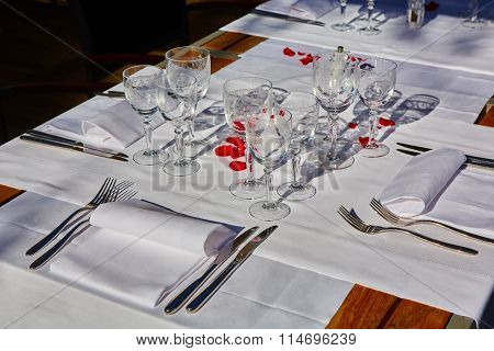 table setup in outdoor cafe