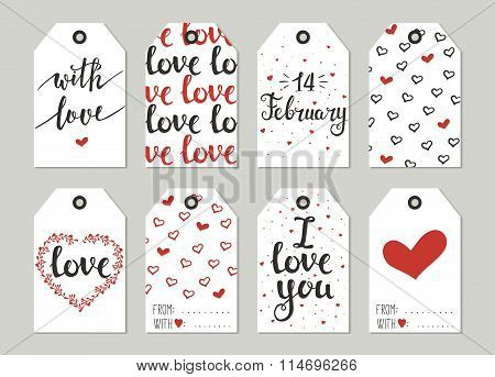 Valentine's Day Gift Tags Set, Stickers And Labels.