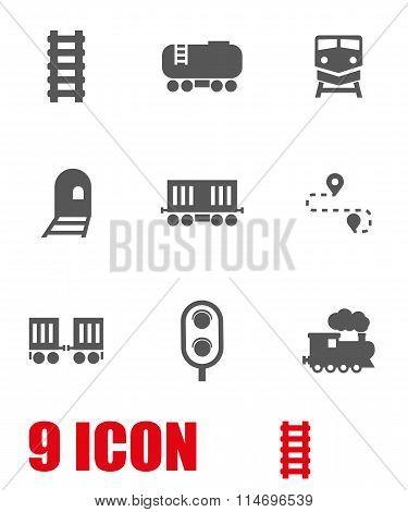 Vector White Railroad Icon Set