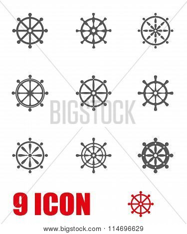 Vector Grey Rudder Icon Set