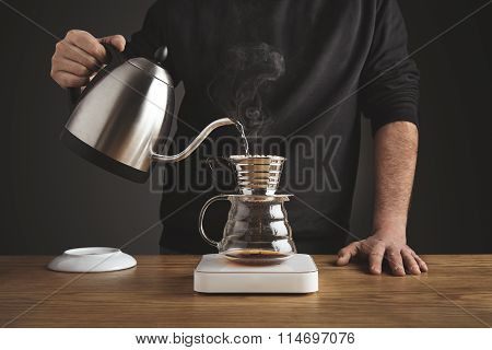 Making Of Filtered Coffee In Drip Machine