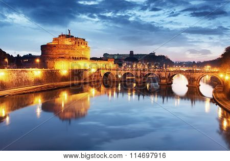 Castle Angelo, Rome At Night