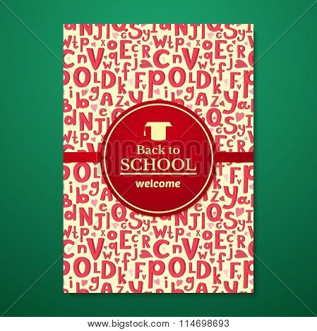 Vector school brochure on schoolboard background