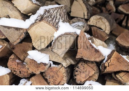 Arranged Firewood For Winter Heating Season