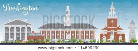 Burlington (Vermont) City Skyline with Color Buildings and Blue Sky. Business and tourism concept with historic buildings. Image for presentation, banner, placard or web site